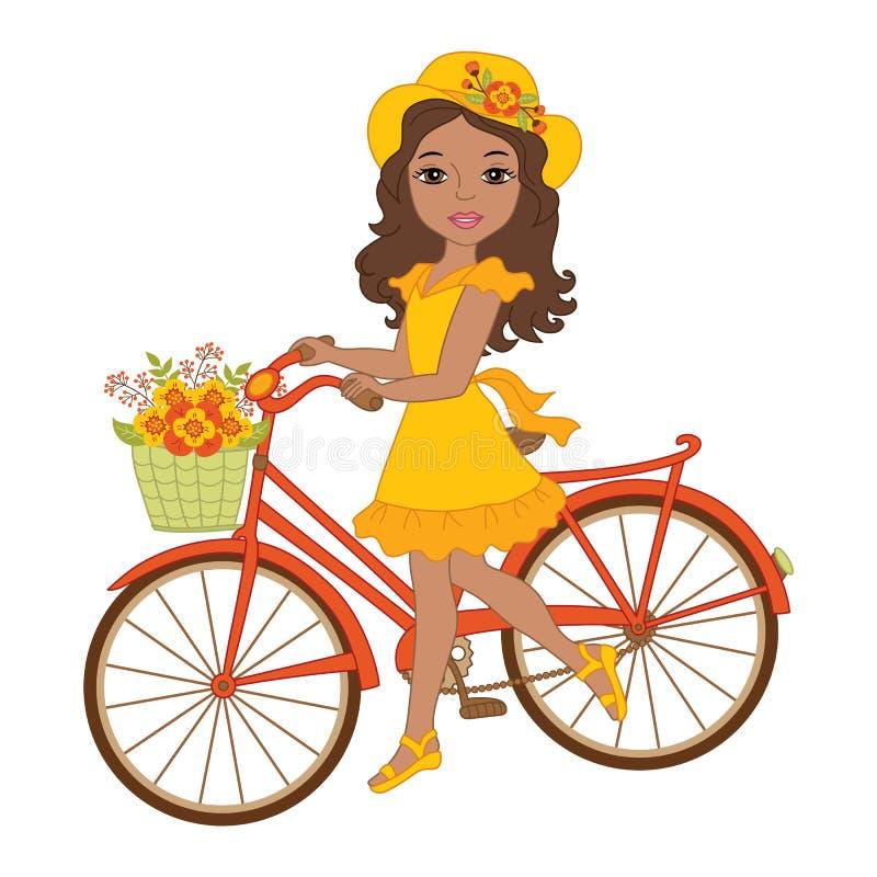 Διανυσματικό όμορφο κορίτσι αφροαμερικάνων με το ποδήλατο απεικόνιση αποθεμάτων