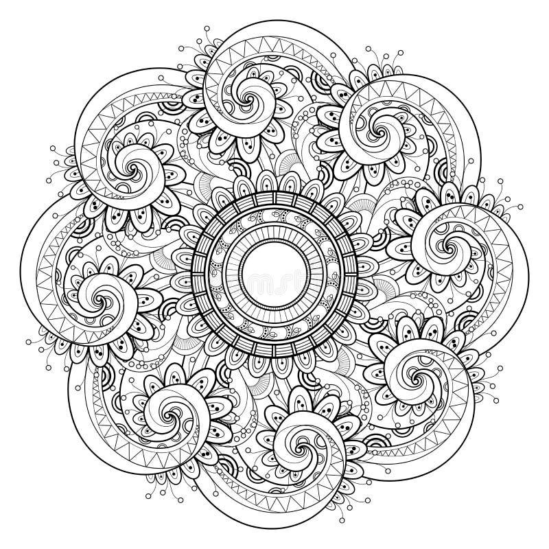 Διανυσματικό όμορφο μονοχρωματικό περίγραμμα Mandala Deco διανυσματική απεικόνιση