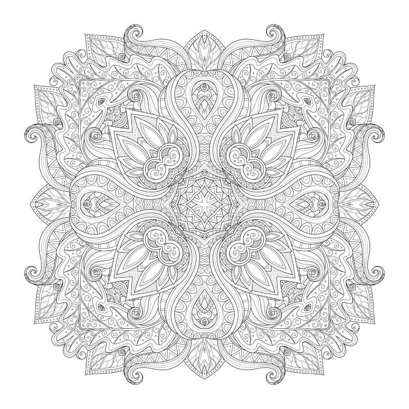 Διανυσματικό όμορφο τετράγωνο περιγράμματος Deco μονοχρωματικό απεικόνιση αποθεμάτων