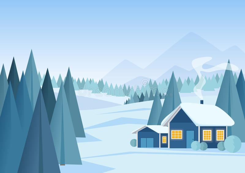 Διανυσματικό όμορφο υπόβαθρο χειμερινών χιονώδες τοπίων Χριστουγέννων με τα βουνά και τα χαμηλά πολυ δέντρα έλατου διανυσματική απεικόνιση