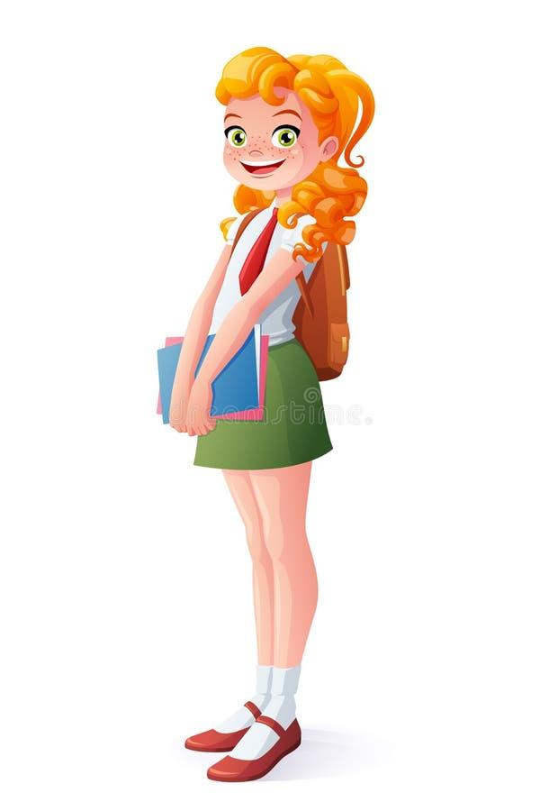 Διανυσματικό όμορφο χαμογελώντας redhead κορίτσι σχολικών σπουδαστών που στέκεται με τα βιβλία απεικόνιση αποθεμάτων