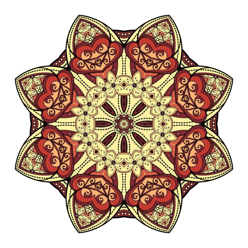Διανυσματικό όμορφο χρωματισμένο Deco Mandala διανυσματική απεικόνιση