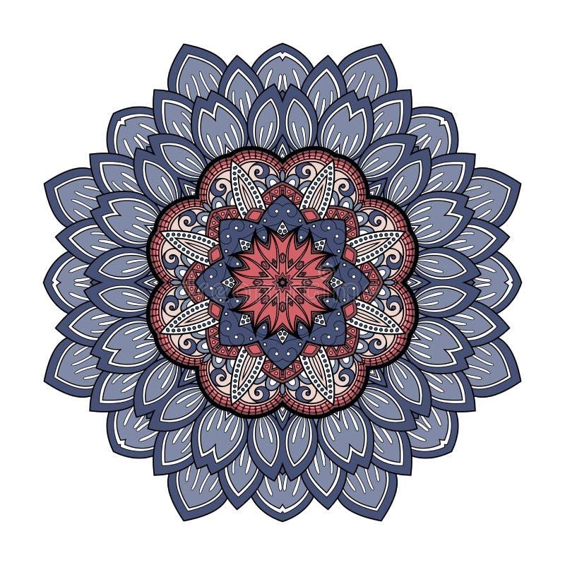 Διανυσματικό όμορφο χρωματισμένο Deco Mandala απεικόνιση αποθεμάτων