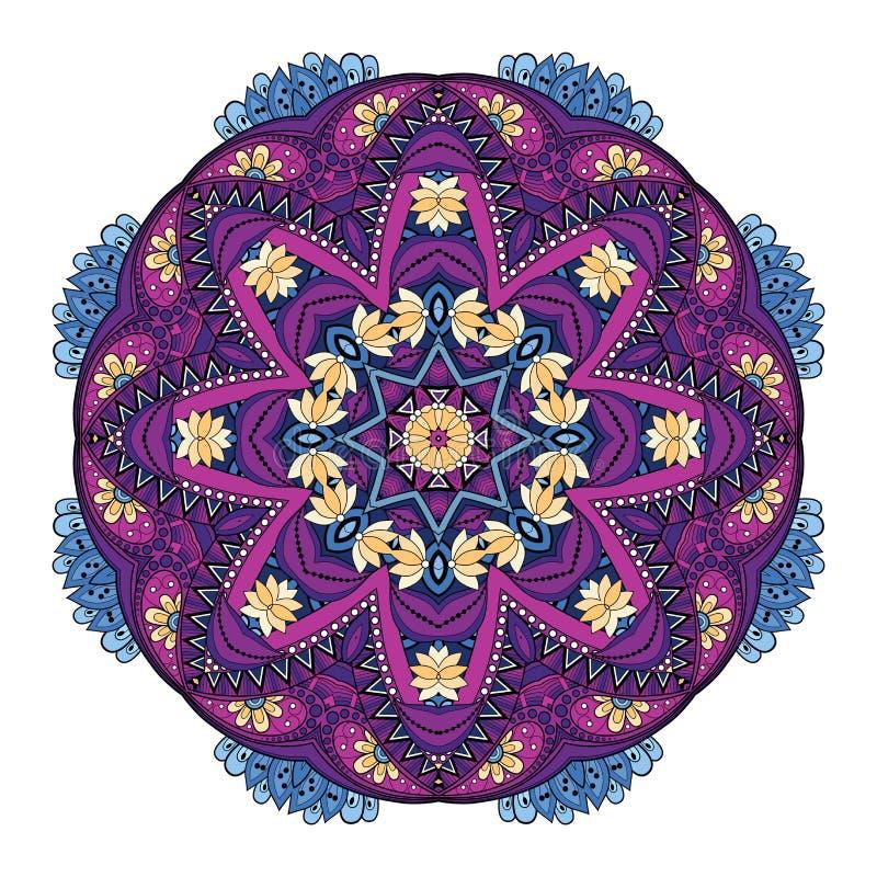 Διανυσματικό όμορφο χρωματισμένο Deco Mandala ελεύθερη απεικόνιση δικαιώματος