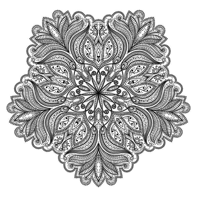 Διανυσματικό όμορφο Deco μαύρο Mandala, διαμορφωμένο στοιχείο σχεδίου, εθνικό φυλακτό, στρογγυλό floral σχέδιο μοτίβου διανυσματική απεικόνιση