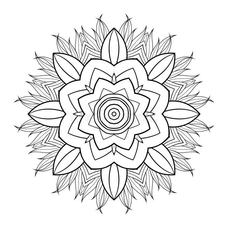 Διανυσματικό όμορφο Deco μαύρο Mandala απεικόνιση αποθεμάτων