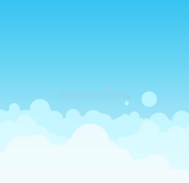 Διανυσματικό όμορφο minimalistic cloudscape στην ηλιόλουστη ημέρα απεικόνιση αποθεμάτων