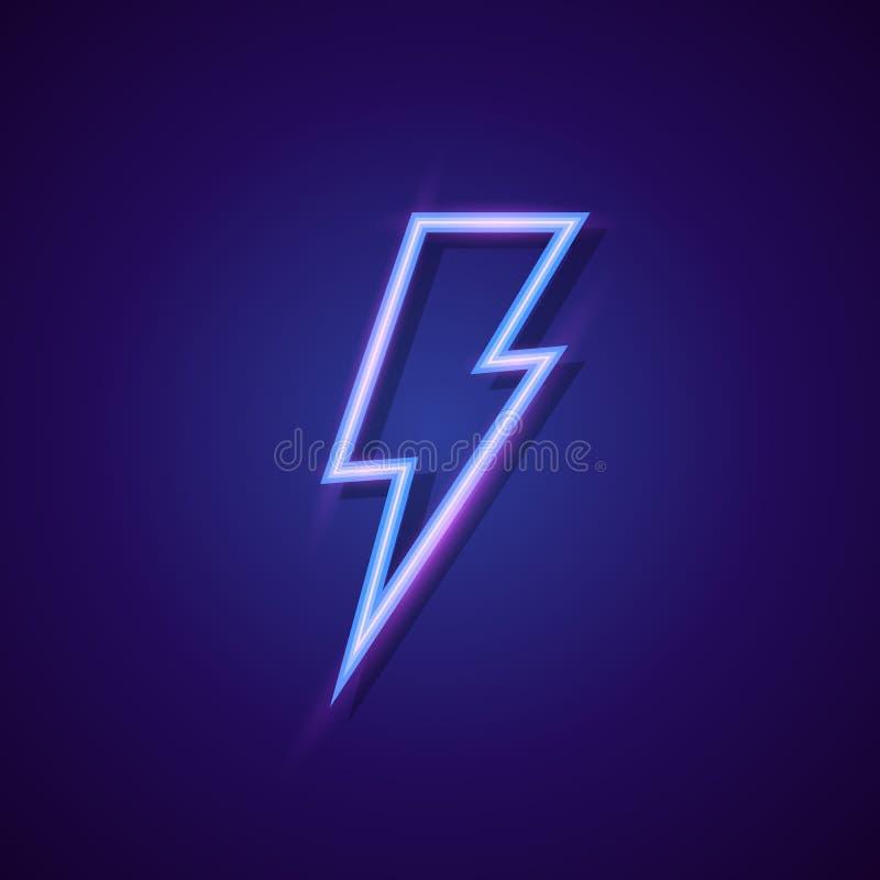 Διανυσματικό ύφος νέου λογότυπων μπουλονιών ενεργειακής αστραπής διανυσματική απεικόνιση