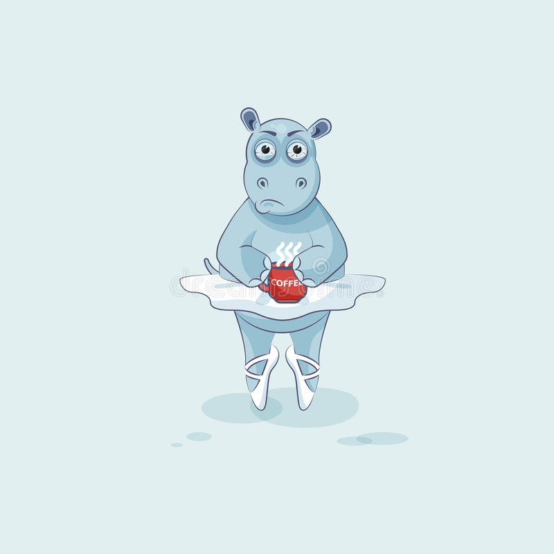 Διανυσματικό ballerina Hippopotamus κινούμενων σχεδίων χαρακτήρα Emoji απεικόνισης νευρικό με το φλιτζάνι του καφέ ελεύθερη απεικόνιση δικαιώματος