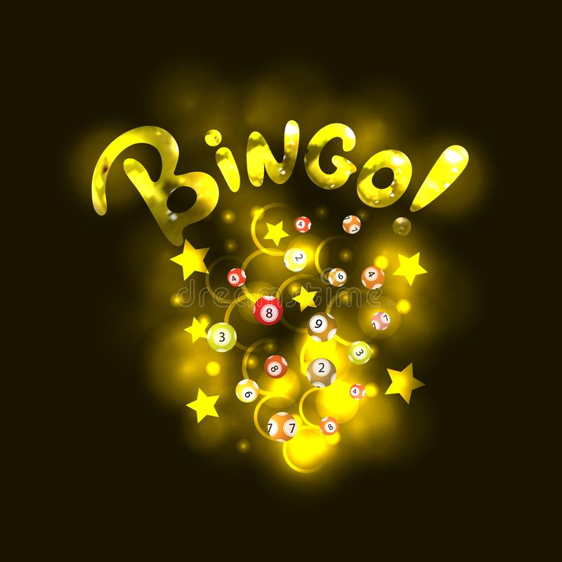 Διανυσματικό BINGO που γράφει: Χρυσές ρεαλιστικές επιστολές και λαμπρές σφαίρες λαχειοφόρων αγορών, αστέρια και κύκλοι διανυσματική απεικόνιση