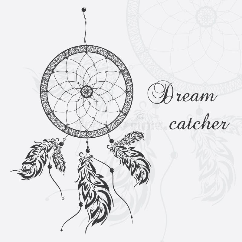 Διανυσματικό catcher ονείρου Άσπρη ανασκόπηση διανυσματική απεικόνιση