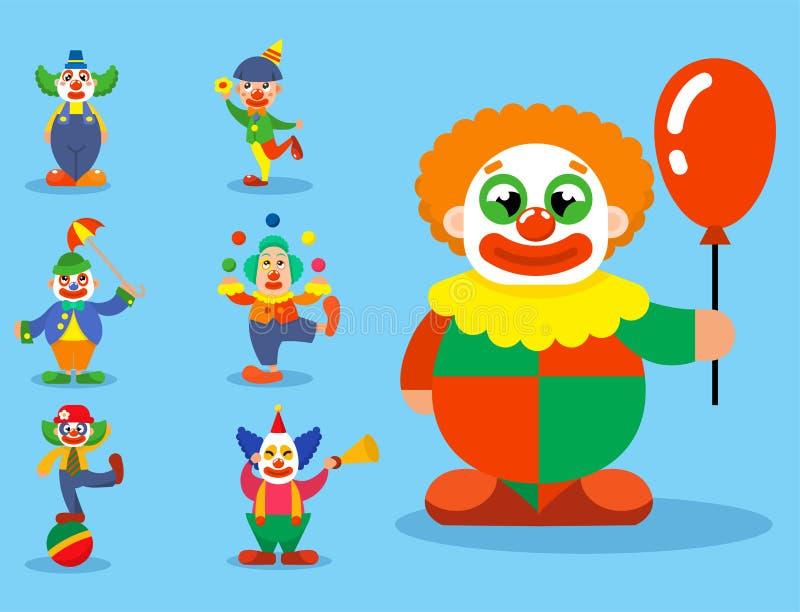 Διανυσματικό clownery δραστών καρναβαλιού εκτελεστών χαρακτήρων ατόμων τσίρκων κλόουν makeup που κάνει ταχυδακτυλουργίες τα άξεστ απεικόνιση αποθεμάτων