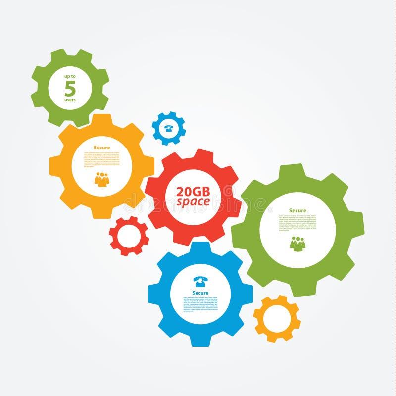 Διανυσματικό cogwheel πρότυπο. Cogwheel σύνδεση, ομαδική εργασία. ελεύθερη απεικόνιση δικαιώματος