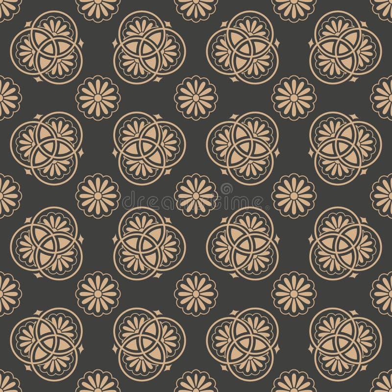 Διανυσματικό damask άνευ ραφής αναδρομικό σχεδίων υποβάθρου ασιατικό στρογγυλό λουλούδι πλαισίων καμπυλών διαγώνιο Κομψό σχέδιο τ διανυσματική απεικόνιση