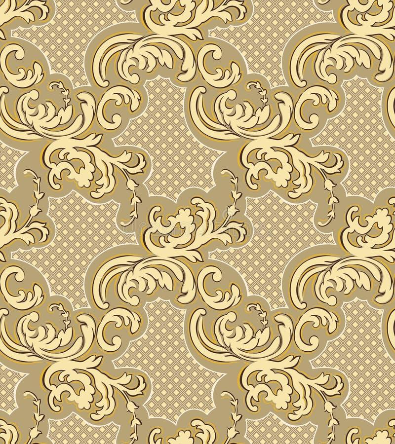 Διανυσματικό damask άνευ ραφής στοιχείο σχεδίων Κλασική μπαρόκ διακόσμηση πολυτέλειας, βασιλικό βικτοριανό άνευ ραφής σχέδιο διανυσματική απεικόνιση