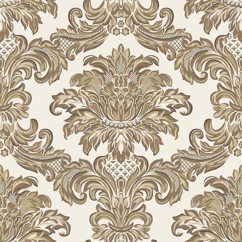 Διανυσματικό damask άνευ ραφής στοιχείο σχεδίων Κλασική μπαρόκ διακόσμηση πολυτέλειας, βασιλική βικτοριανή άνευ ραφής σύσταση για ελεύθερη απεικόνιση δικαιώματος