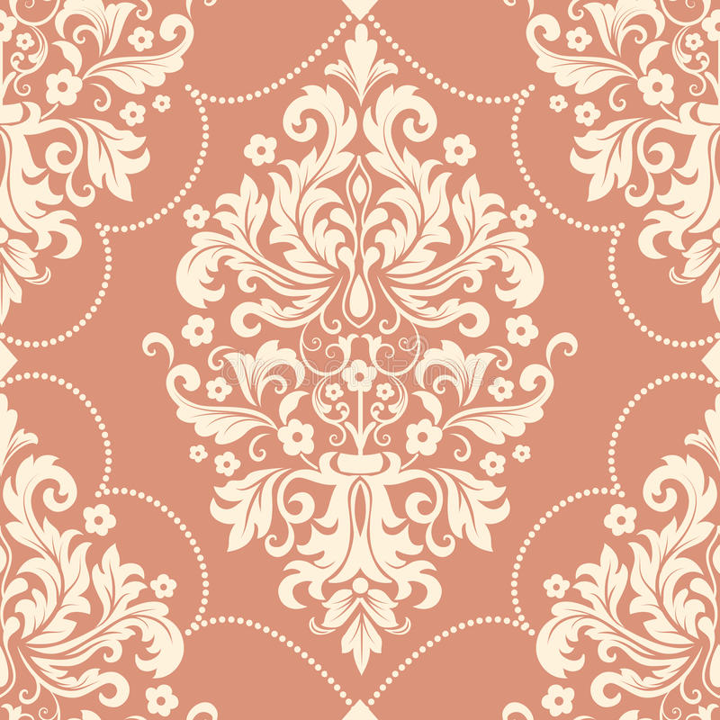 Διανυσματικό damask άνευ ραφής στοιχείο σχεδίων Κλασσική ντεμοντέ damask πολυτέλειας διακόσμηση, βασιλική βικτοριανή άνευ ραφής σ απεικόνιση αποθεμάτων