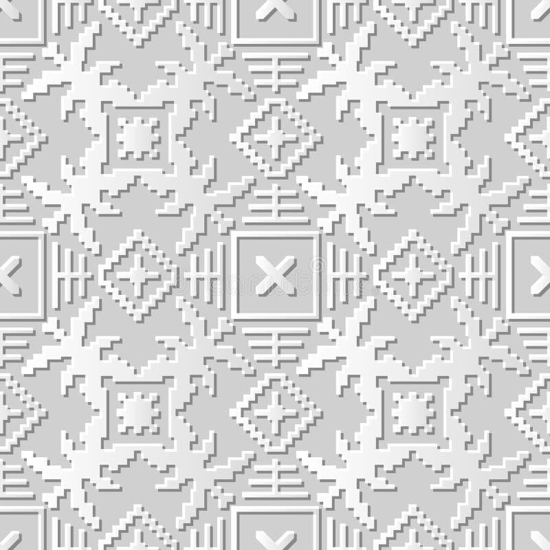 Διανυσματικό damask άνευ ραφής τρισδιάστατο υπόβαθρο 019 σχεδίων τέχνης εγγράφου τετραγωνική γεωμετρία μωσαϊκών διανυσματική απεικόνιση