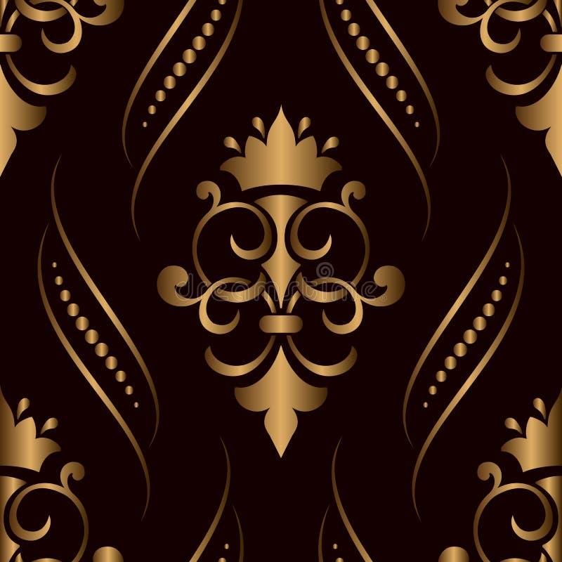 Διανυσματικό damask άνευ ραφής χρυσό στοιχείο σχεδίων Η κομψή σύσταση πολυτέλειας για τις ταπετσαρίες, τα υπόβαθρα και η σελίδα γ ελεύθερη απεικόνιση δικαιώματος