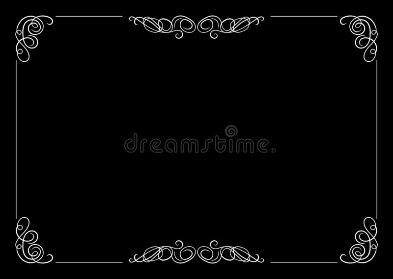 Διανυσματικό Filigree πλαίσιο, καλλιγραφικό στοιχείο σχεδίου, παλαιά έννοια κινηματογράφων διανυσματική απεικόνιση
