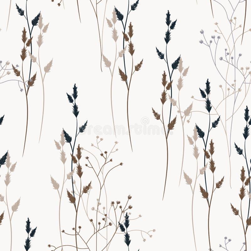Διανυσματικό floral άνευ ραφής σχέδιο με τα άγρια λουλούδια, τα χορτάρια και τις χλόες λιβαδιών διανυσματική απεικόνιση