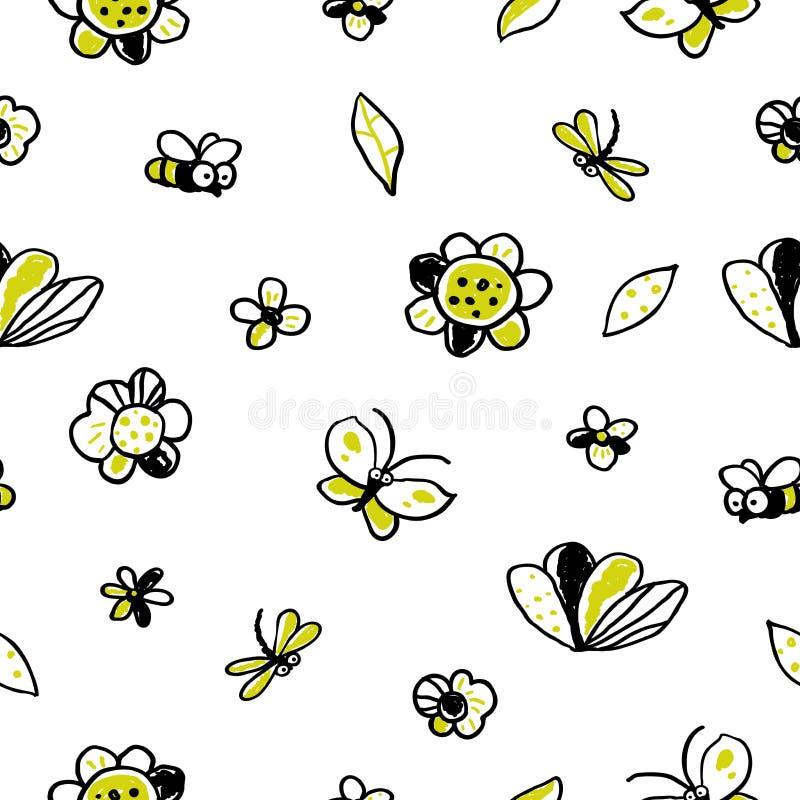 Διανυσματικό floral άνευ ραφής σχέδιο στο ύφος doodle ελεύθερη απεικόνιση δικαιώματος
