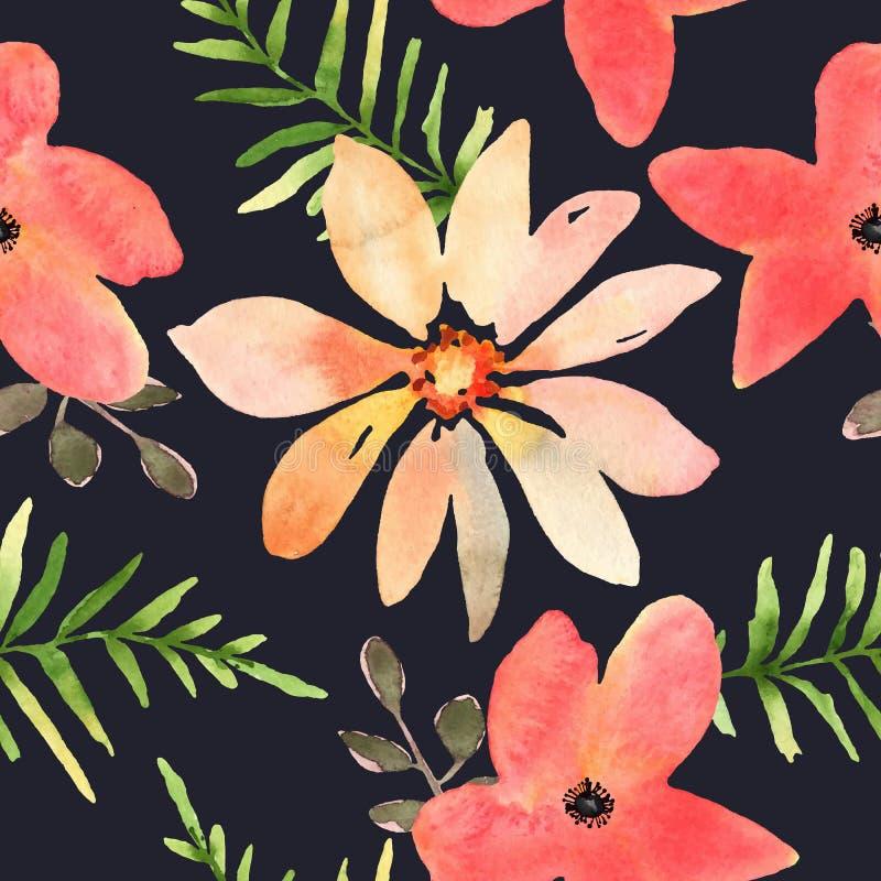 Διανυσματικό floral άνευ ραφής σχέδιο με τα λουλούδια στο watercolor Desig απεικόνιση αποθεμάτων