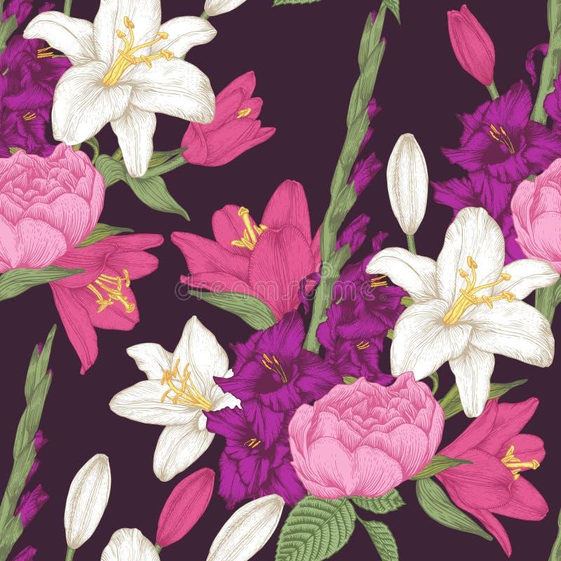 Διανυσματικό floral άνευ ραφής σχέδιο με τα λουλούδια, τους κρίνους και τα τριαντάφυλλα gladiolus ελεύθερη απεικόνιση δικαιώματος
