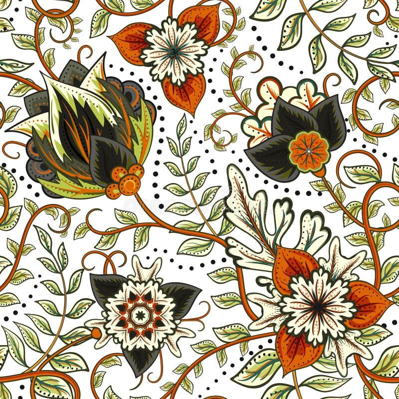 Διανυσματικό floral άνευ ραφής σχέδιο με τα λουλούδια φαντασίας διανυσματική απεικόνιση