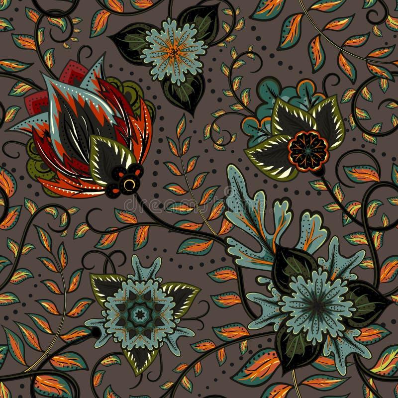 Διανυσματικό floral άνευ ραφής σχέδιο με τα λουλούδια φαντασίας ελεύθερη απεικόνιση δικαιώματος