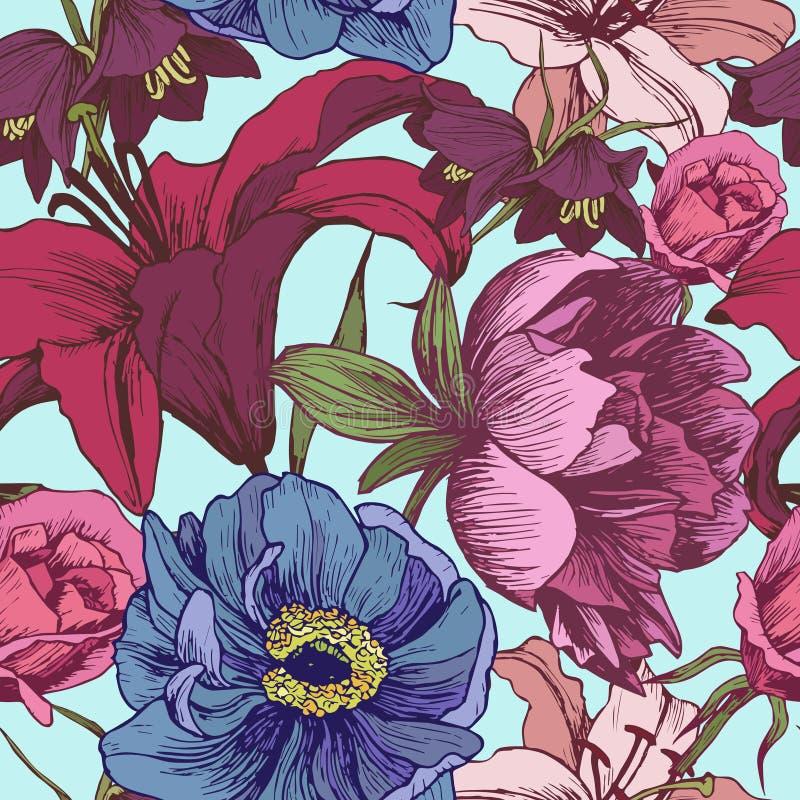 Διανυσματικό floral άνευ ραφής σχέδιο με τα peonies, κρίνοι, τριαντάφυλλα στοκ φωτογραφίες