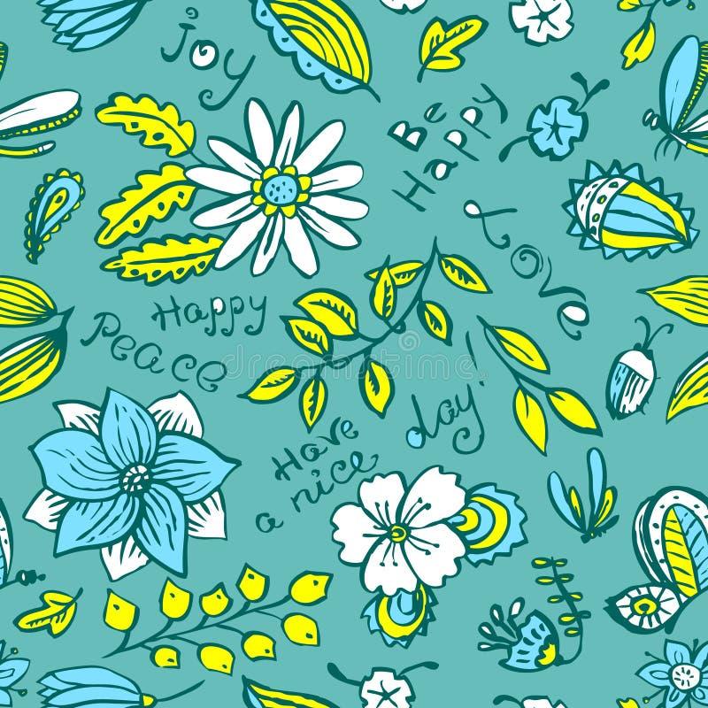 Διανυσματικό floral άνευ ραφής σχέδιο με την πεταλούδα και τη λιβελλούλη στο δ διανυσματική απεικόνιση