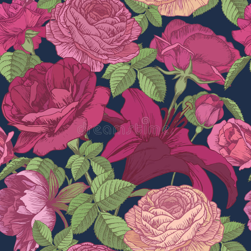 Διανυσματικό floral άνευ ραφής σχέδιο με τους κρίνους, peonies, κόκκινα και ρόδινα τριαντάφυλλα στο σκούρο μπλε υπόβαθρο ελεύθερη απεικόνιση δικαιώματος