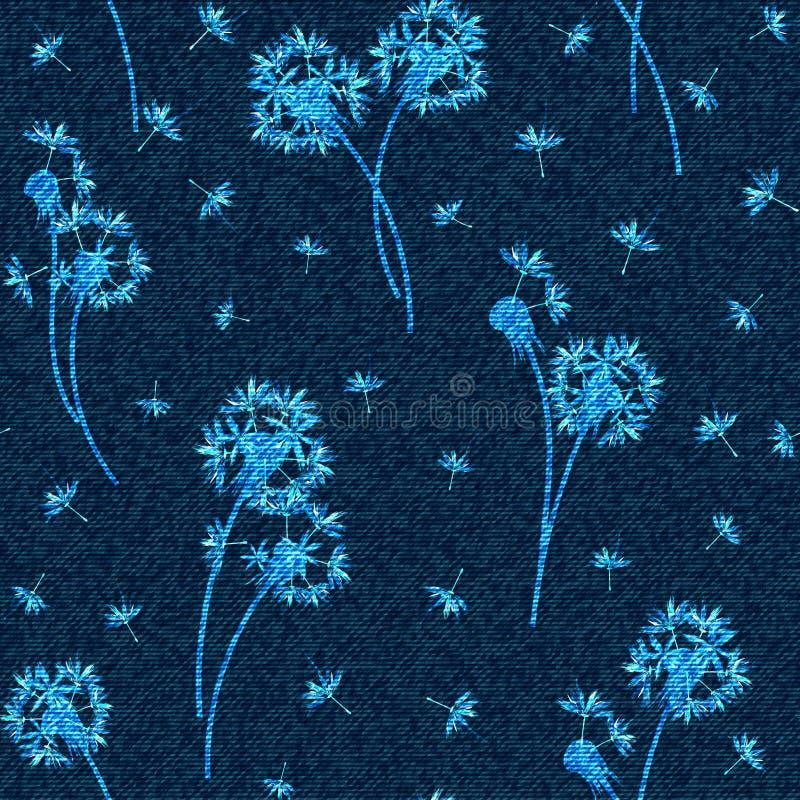 Διανυσματικό floral άνευ ραφής σχέδιο τζιν Εξασθενισμένο υπόβαθρο τζιν με τα λουλούδια πικραλίδων μπλε τζιν υφασμάτων ανασκ ελεύθερη απεικόνιση δικαιώματος