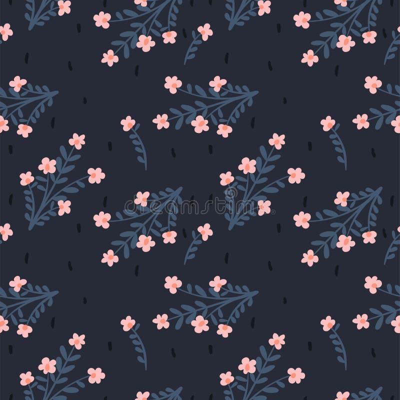Διανυσματικό floral αφηρημένο άνευ ραφής σχέδιο Υπόβαθρο για το έγγραφο, κάλυψη, ύφασμα, κλωστοϋφαντουργικό προϊόν Ρόδινα λουλούδ διανυσματική απεικόνιση