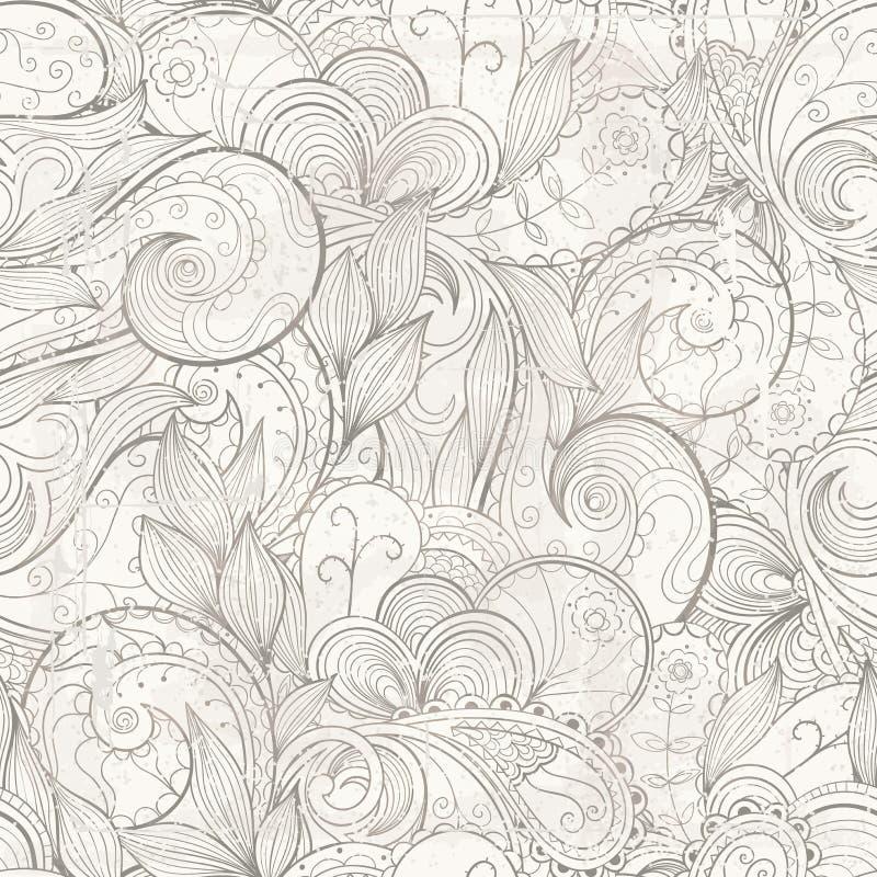 Διανυσματικό floral αφηρημένο hand-drawn υπόβαθρο με τα αποτελέσματα grunge ελεύθερη απεικόνιση δικαιώματος