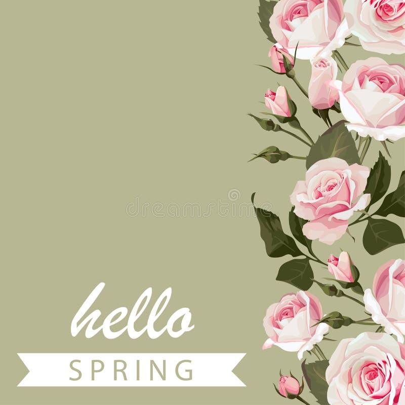 Διανυσματικό floral πράσινο υπόβαθρο με τα τριαντάφυλλα Ανθισμένη άνοιξη ευχετήριων καρτών γειά σου με τα ρόδινα λουλούδια διανυσματική απεικόνιση
