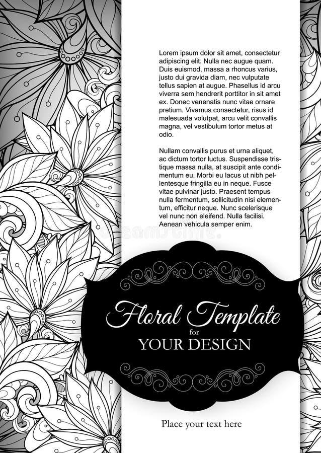 Διανυσματικό Floral πρότυπο Mohochrome με τη θέση για το κείμενο διανυσματική απεικόνιση