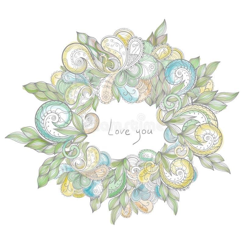 Διανυσματικό floral πλαίσιο κύκλων ελεύθερη απεικόνιση δικαιώματος