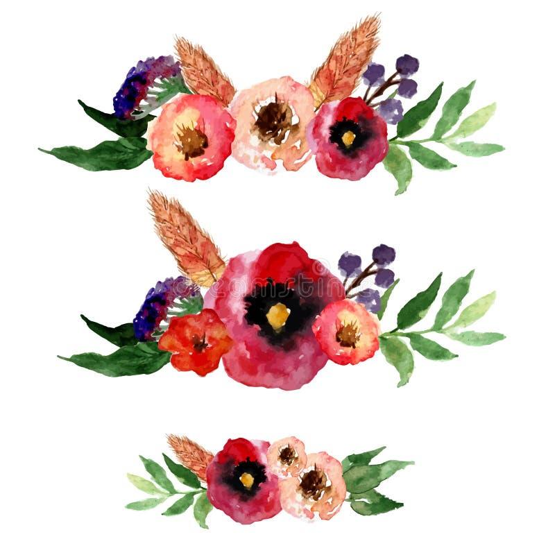 Διανυσματικό floral στεφάνι watercolor που τίθεται με τα εκλεκτής ποιότητας φύλλα και τα λουλούδια Καλλιτεχνικό σχέδιο για τα εμβ ελεύθερη απεικόνιση δικαιώματος