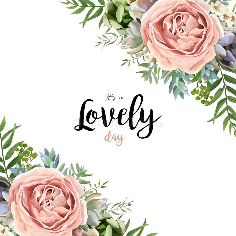 Διανυσματικό floral σχέδιο ανθοδεσμών πλαισίων καρτών με το ρόδινο ροδάκινο λ κήπων ελεύθερη απεικόνιση δικαιώματος