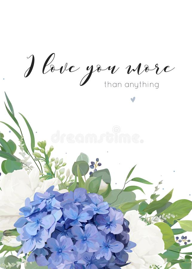 Διανυσματικό floral σχέδιο ευχετήριων καρτών με την κομψή ανθοδέσμη των μπλε hydrangea τριαντάφυλλων κήπων λουλουδιών άσπρων, πρά ελεύθερη απεικόνιση δικαιώματος
