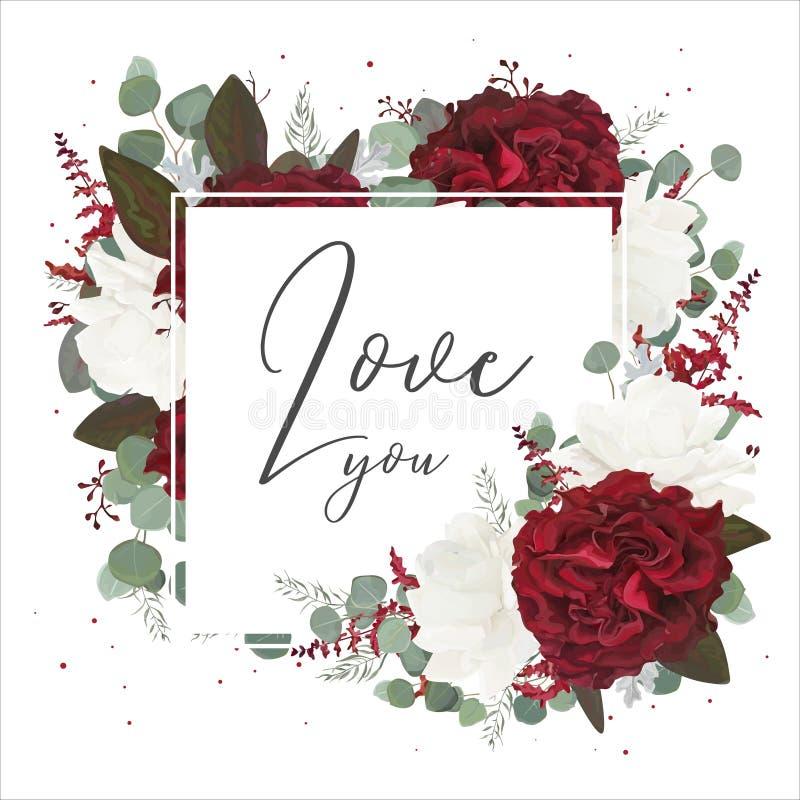 Διανυσματικό floral σχέδιο ευχετήριων καρτών με τον κόκκινο και άσπρο κήπο ros απεικόνιση αποθεμάτων