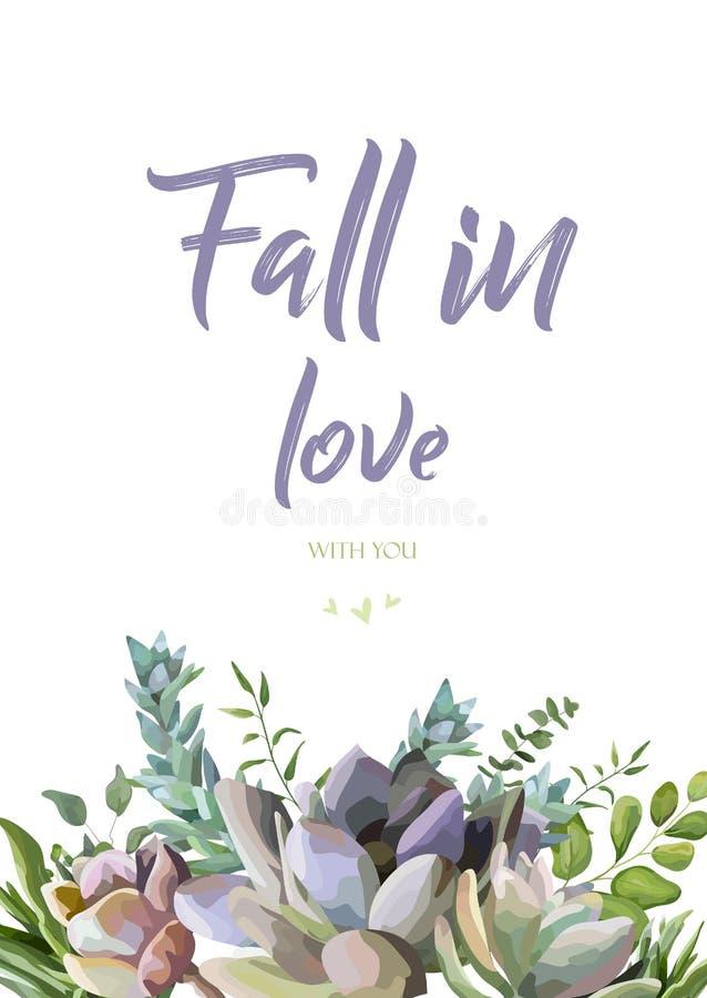 Διανυσματικό floral σχέδιο καρτών: Succulent συρμένα χέρι όμορφα σύνορα watercolor εγκαταστάσεων λουλουδιών Διανυσματική κομψή τέ διανυσματική απεικόνιση