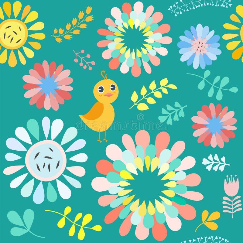 Διανυσματικό floral σχέδιο με τα ζωηρόχρωμα λουλούδια και τα πουλιά διανυσματική απεικόνιση