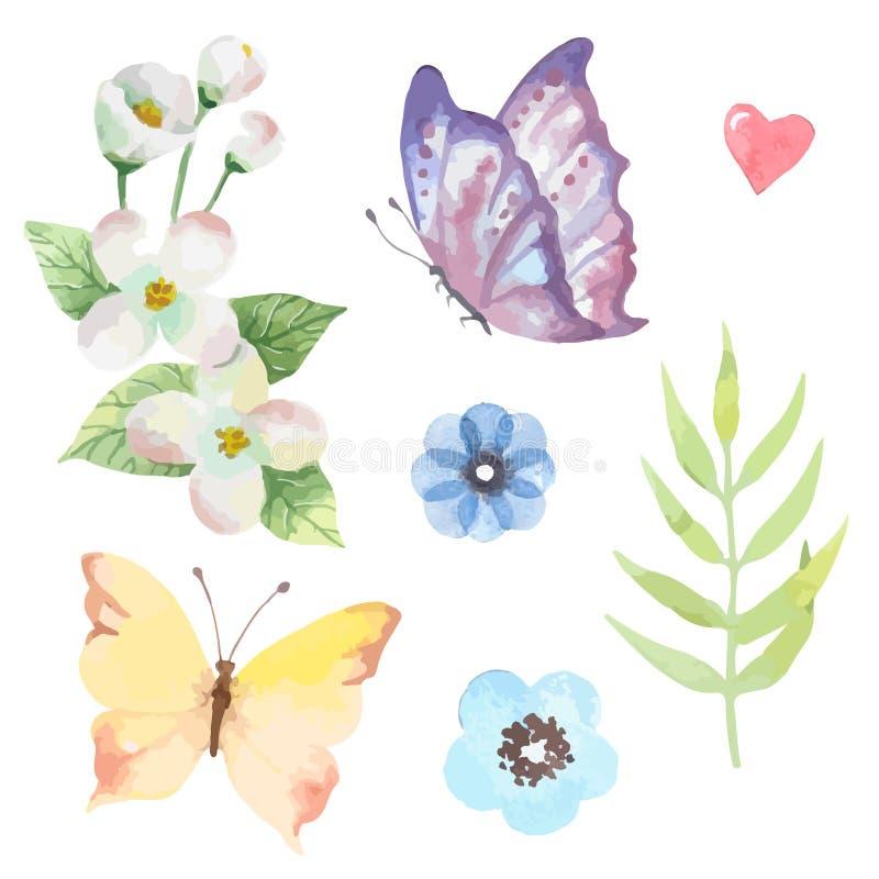 Διανυσματικό floral σύνολο Ζωηρόχρωμη πορφυρή floral συλλογή με τα φύλλα και τα λουλούδια απεικόνιση αποθεμάτων