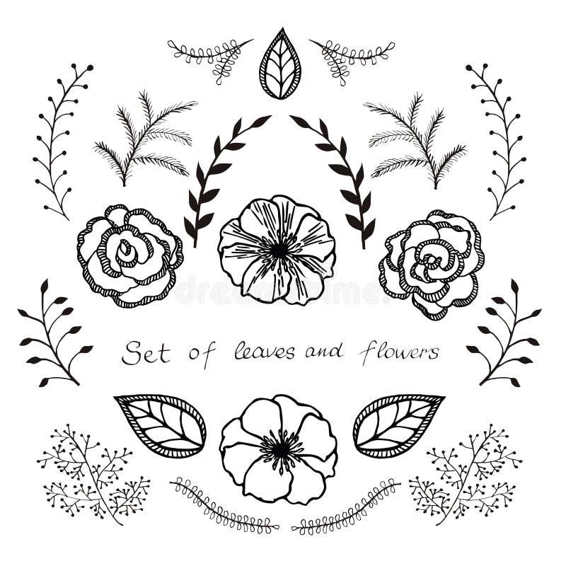 Διανυσματικό floral σύνολο Γραφική συλλογή με τα φύλλα και τα λουλούδια, που σύρουν τα στοιχεία ελεύθερη απεικόνιση δικαιώματος