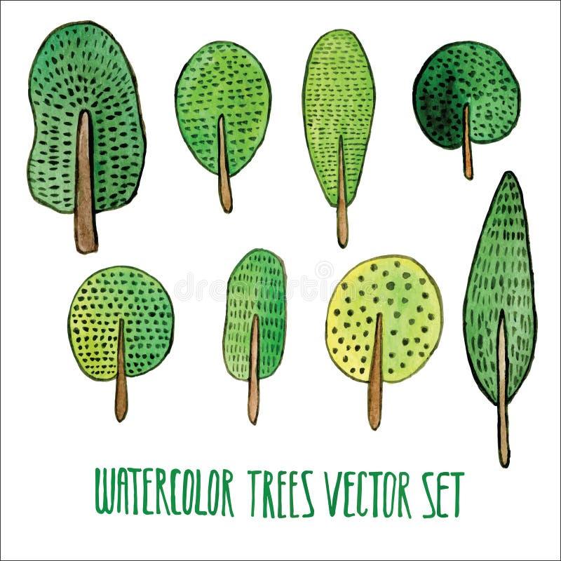 Διανυσματικό floral σύνολο Ζωηρόχρωμη συλλογή δέντρων, που σύρει το watercolor Σχέδιο άνοιξης ή καλοκαιριού για την πρόσκληση, το απεικόνιση αποθεμάτων