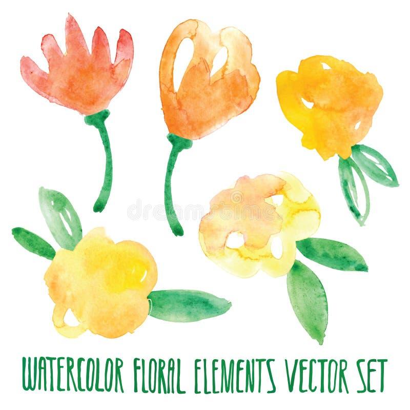 Διανυσματικό floral σύνολο Ζωηρόχρωμη floral συλλογή με τα φύλλα και τα λουλούδια, που σύρουν το watercolor Σχέδιο άνοιξης ή καλο ελεύθερη απεικόνιση δικαιώματος