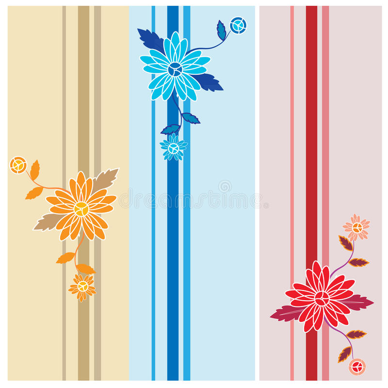Διανυσματικό floral σύνολο σχεδίων ελεύθερη απεικόνιση δικαιώματος